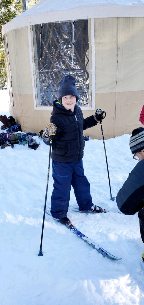 A happy 3rd grader Nordic skiing for the first time